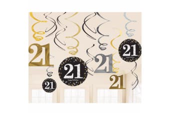 Amscan Gold Celebration 21st Birthday Swirl Decorations (Pack of 12) (Multicoloured) (One Size)