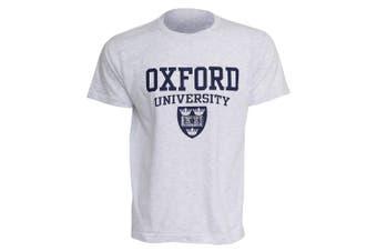 Mens Oxford University Print Short Sleeve Casual T-Shirt/Top (Ash)