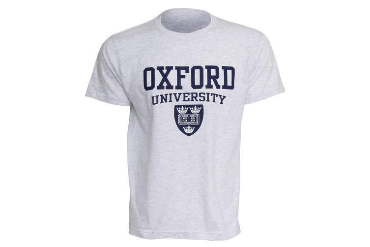 Mens Oxford University Print Short Sleeve Casual T-Shirt/Top (Ash) (L - 42inch - 44inch)