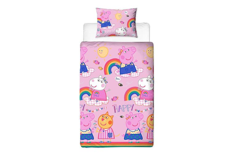 Peppa Pig Hooray Reversible Duvet Set (Pink) (Single)