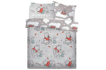 Winnie The Pooh Clouds Duvet Cover Set (Grey) (Single)
