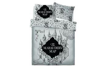 Harry Potter Marauders Map Reversible Duvet Set (Black/Grey) (Single)