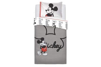 Mickey Mouse Jersey Panel Duvet Set (Grey/Red) (Single)