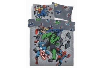 Avengers Break Thru Reversible Duvet Set (Grey) (Double)