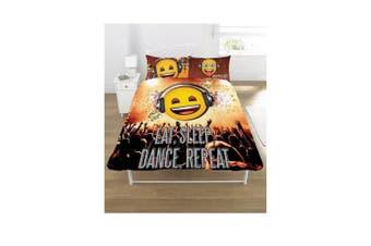 Emoji Eat Sleep Dance Repeat Duvet Set (Multicoloured) (Single)