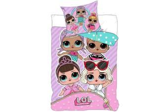 LOL Surprise Childrens/Kids Single Panel Duvet Set (Pink/White) (One Size)