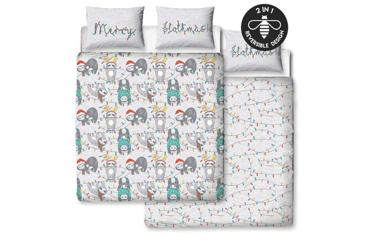 Hive Slothmas Rotary Duvet Cover Set (Multicoloured) (Double)