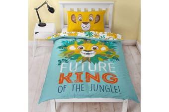 The Lion King Hakuna Panel Duvet Cover Set (Blue/Yellow) (Single)