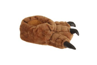 Mens Plush Monster Paw Novelty Slippers (Brown) - UTSL534