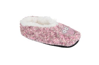 Slumberzzz Womens/Ladies Animal Microbobble Fluffy Slippers (Pink) (5/6)