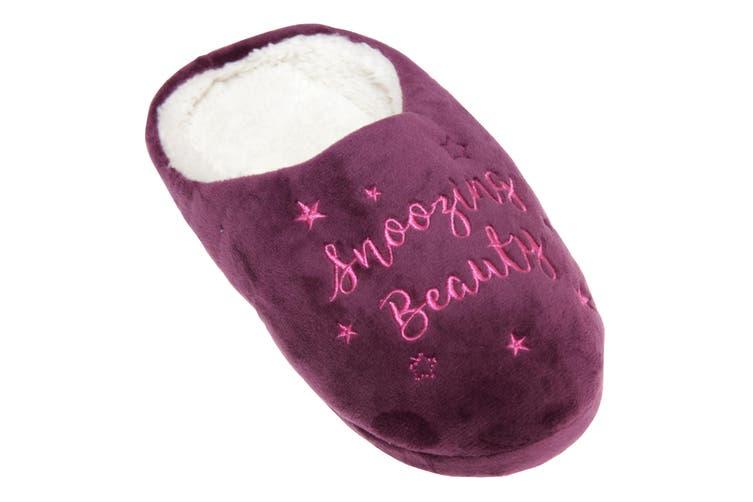 Slumberzzz Womens/Ladies Sleeping Princess Slippers (Dark Purple) (5-6 UK | 38-39 EU)