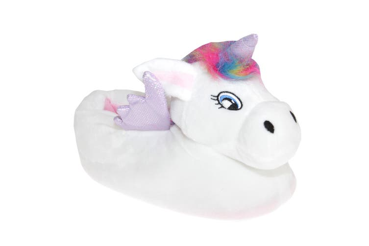 Slumberzzz Womens/Ladies Unicorn Slippers (White/Purple) (5-6 UK | 38-39 EU)