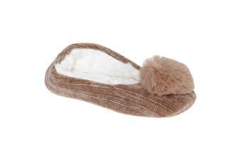 Slumberzzz Womens/Ladies Pom Pom Slippers (Brown) (7-8 UK | 40-41 EU)