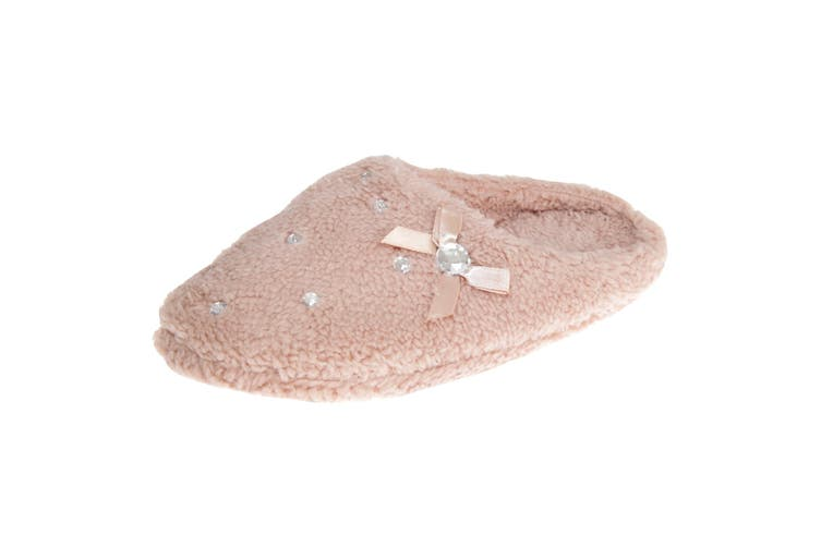Slumberzzz Womens/Ladies Slip-on Crystal Fleece Slippers (BEIGE) (5-6 UK | 38-39 EU)