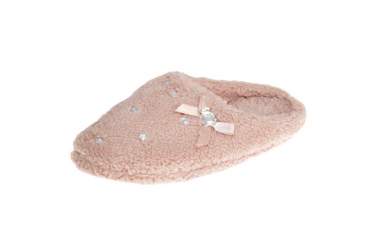 Slumberzzz Womens/Ladies Slip-on Crystal Fleece Slippers (BEIGE) (7-8 UK   40-41 EU)