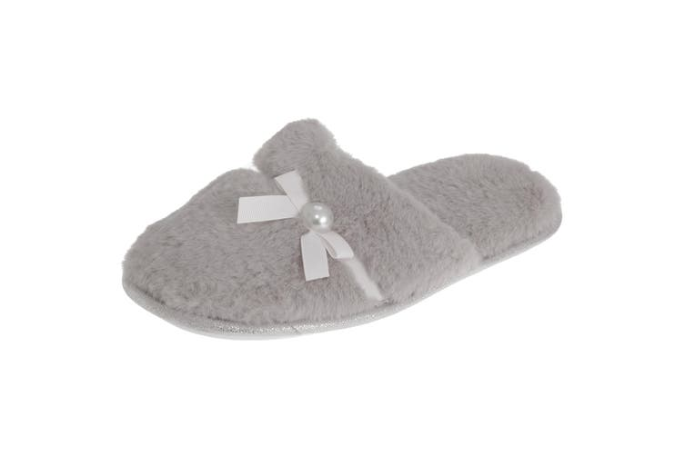 SlumberzzZ Womens/Ladies Faux Fur Bow Tie Slippers With Rubber Sole (Light Grey) (3/4 UK / 36/37 EU)
