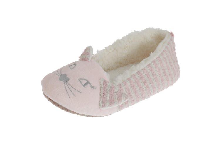 SlumberzzZ Womens/Ladies Fleece Lined Striped Cat Slippers (Light Pink/White) (3/4 UK / 36/37 EU)