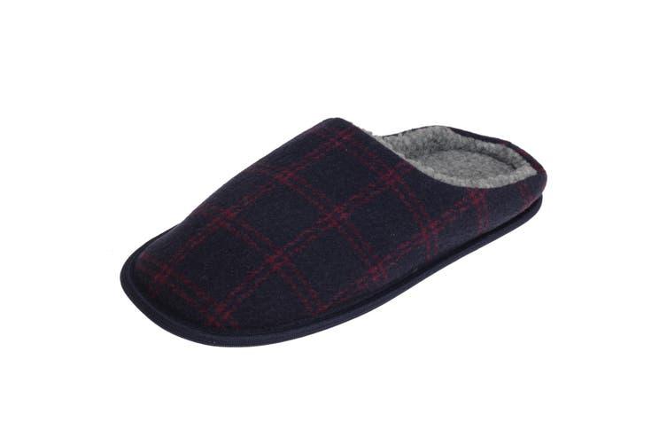 SlumberzzZ Mens Fleece Lined Tartan Slippers With Rubber Sole (Navy/Red) (7/8 UK / 41/42 EU)
