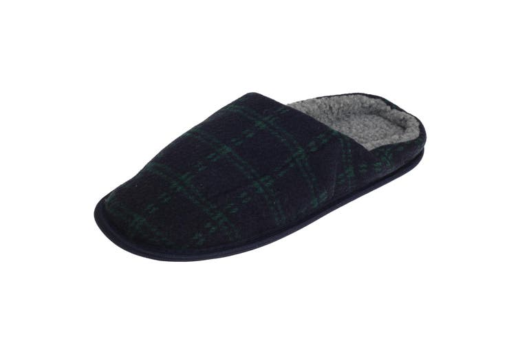 SlumberzzZ Mens Fleece Lined Tartan Slippers With Rubber Sole (Navy/Green) (7/8 UK / 41/42 EU)