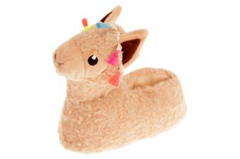Slumberzzz Childrens/Kids Llama Slippers (Beige) (11-12 Child UK)