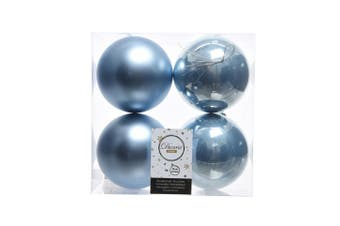 Kaemingk Shatterproof Plain Christmas Baubles (Pack Of 4) (Sea Blue) (10cm)