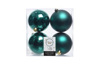 Kaemingk Shatterproof Plain Christmas Baubles (Pack Of 4) (Emerald Green) (10cm)