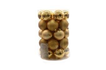 Kaemingk Plain Shatterproof Baubles (Pack of 34) (Light Gold) (34 x 8cm)
