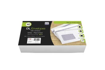 Anker DL Peel & Seal Envelopes With Window (Pack of 40) (White) (11 x 22cm)