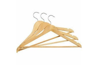 SupaHome Wooden Coat Hangers (Pack of 3) (Brown) (One Size)