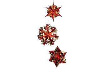 Premier Foil Starbursts Christmas Decorations (Pack of 3) (Red/Gold) (Pack of 3)