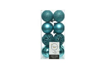 Kaemingk Shatterproof Baubles (Pack Of 16) (Turquoise) (16 x 60mm)