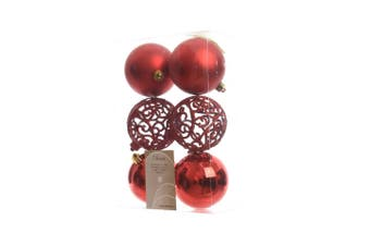 Kaemingk Shatterproof Baubles (Pack of 6) (Christmas Red) (6 x 80mm)