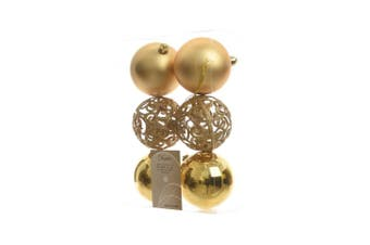 Kaemingk Shatterproof Baubles (Pack of 6) (Light Gold) (6 x 80mm)