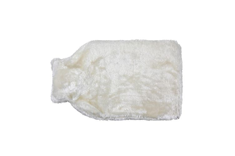 Hearth And Home Long Hot Water Bottle With Cover (White Fur) (One Size)