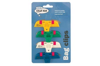 Chef Aid Bag Clips (Pack Of 4) (Multicoloured) (One Size)