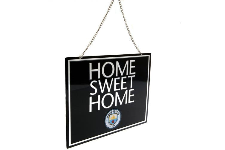 Manchester City FC Official Home Sweet Home Sign (Black) (One Size)