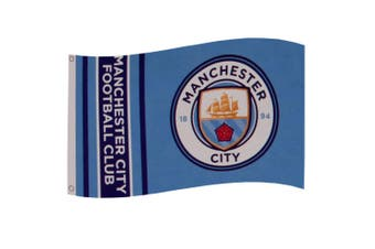 Manchester City FC Stripes Flag (Sky Blue) (One Size)