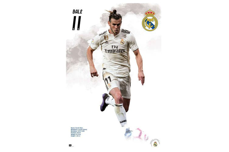 Real Madrid CF Bale Poster (White) (One Size)