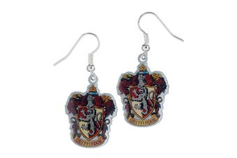Harry Potter Silver Plated Gryffindor Earrings (Multicoloured) (One Size)