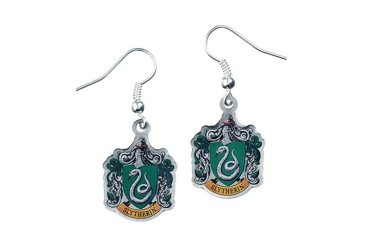 Harry Potter Silver Plated Slytherin Earrings (Multicoloured) (One Size)