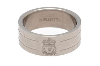 Liverpool FC Medium Stripe Ring (Silver) (One Size)