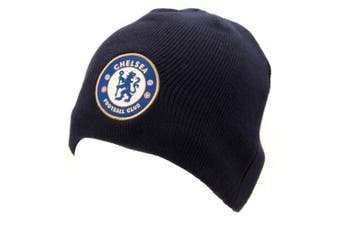 Chelsea FC Official Adults Unisex Knitted Hat (Navy) (One Size)