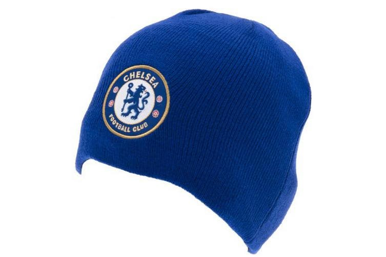 Chelsea FC Official Adults Unisex Knitted Hat (Royal Blue) (One Size)