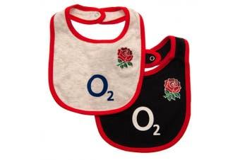 England RFU Baby Bibs (Pack Of 2) (White/Black Marl) (One Size)