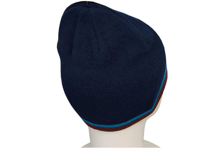 West Ham United FC Official Adults Unisex Knitted Hat (Navy) (One Size)