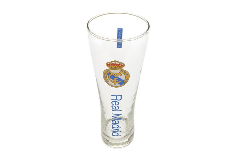 Real Madrid FC Official Tall Beer Glass (Blue) (One Size)