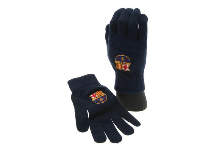FC Barcelona Official Adults Unisex Knitted Gloves (Navy) (One Size)