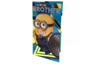 Despicable Me 3 Minion Brother Birthday Card (Yellow/Blue) (One Size)