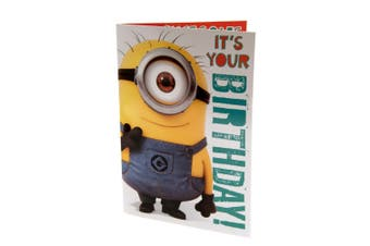 Despicable Me Minion Musical Birthday Card (Yellow/Blue/White) (One Size)