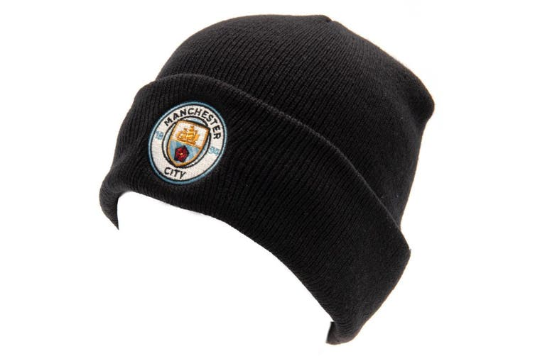 Manchester City FC Unisex Turn Up Knitted Hat (Navy) (One Size)